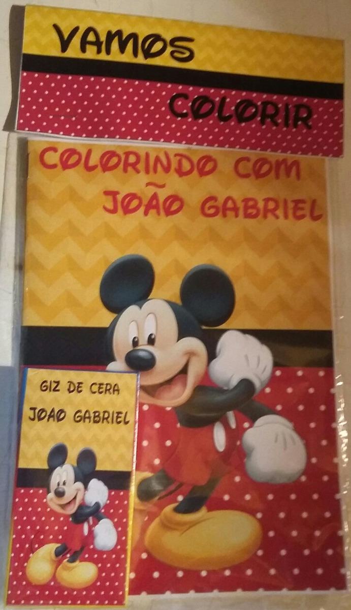 Lembrancinha Kit 60 Livros De Colorir Personalizado Mickey R