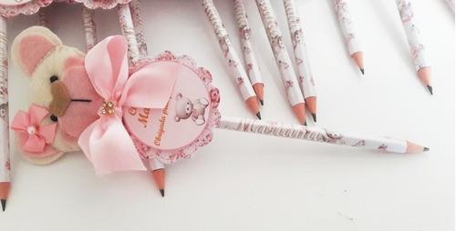 lembrancinha maternidade menina lápis personalizado 35 uni.