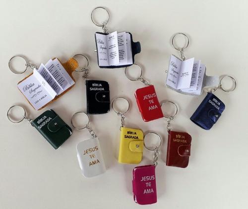 lembrancinhas chaveiro mini bíblia de couro kit com 200 unid