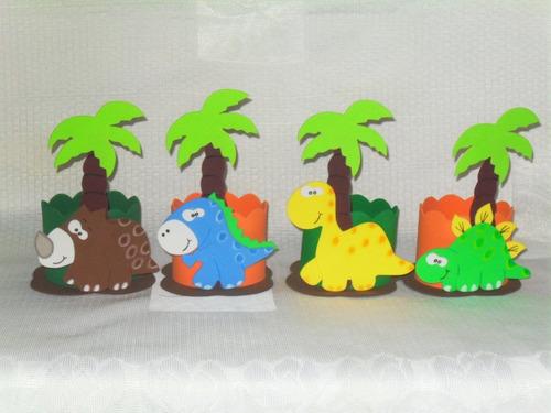 lembrancinhas eva dinossauros kit com 10 centro de mesa