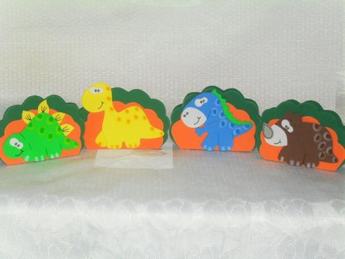 lembrancinhas eva dinossauros kit com 10 porta guardanapos