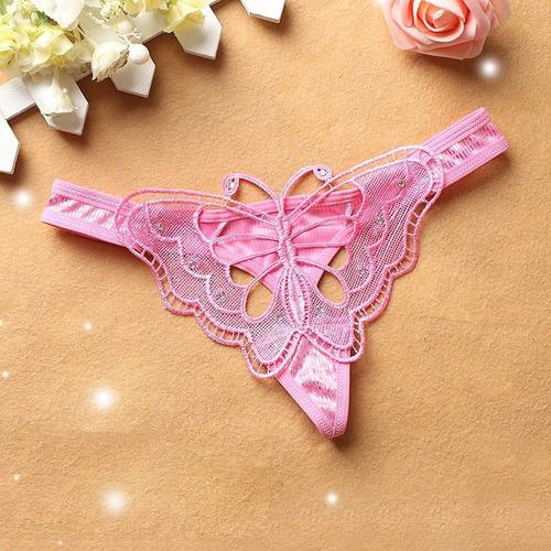 lencería - hilo de mariposa para mujer rosado