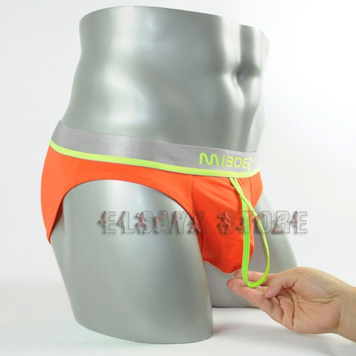 lencería - tanga para hombre con soporte frontal anaranjado