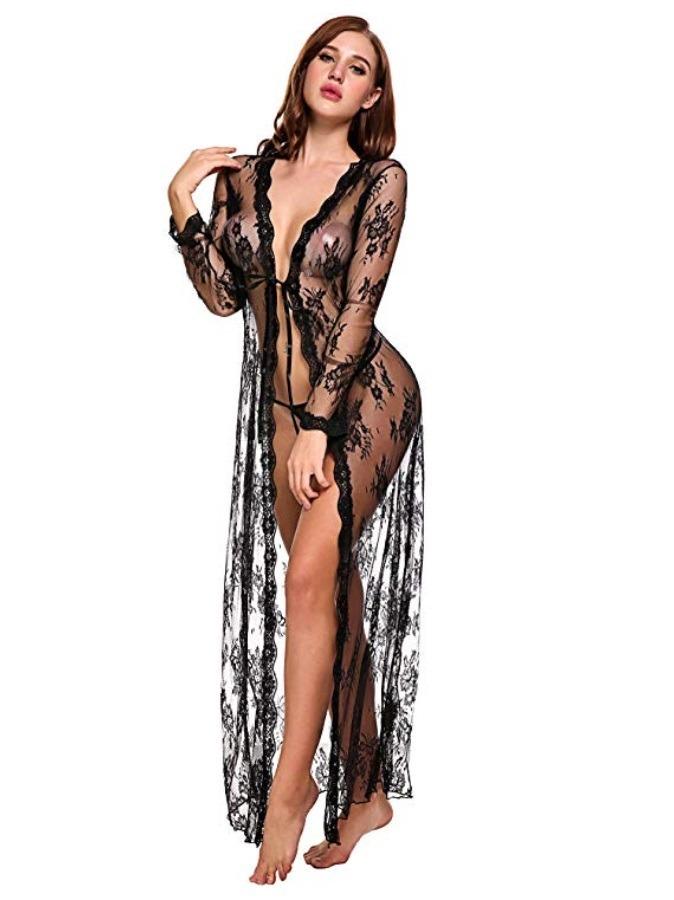 e46652b07d lenceria vestido largo de encaje sexy para mujer vestido tra. Cargando zoom.
