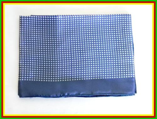 lenço carijo azul com branco 80x80