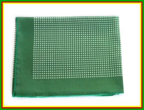 lenço carijo verde com branco 80x80