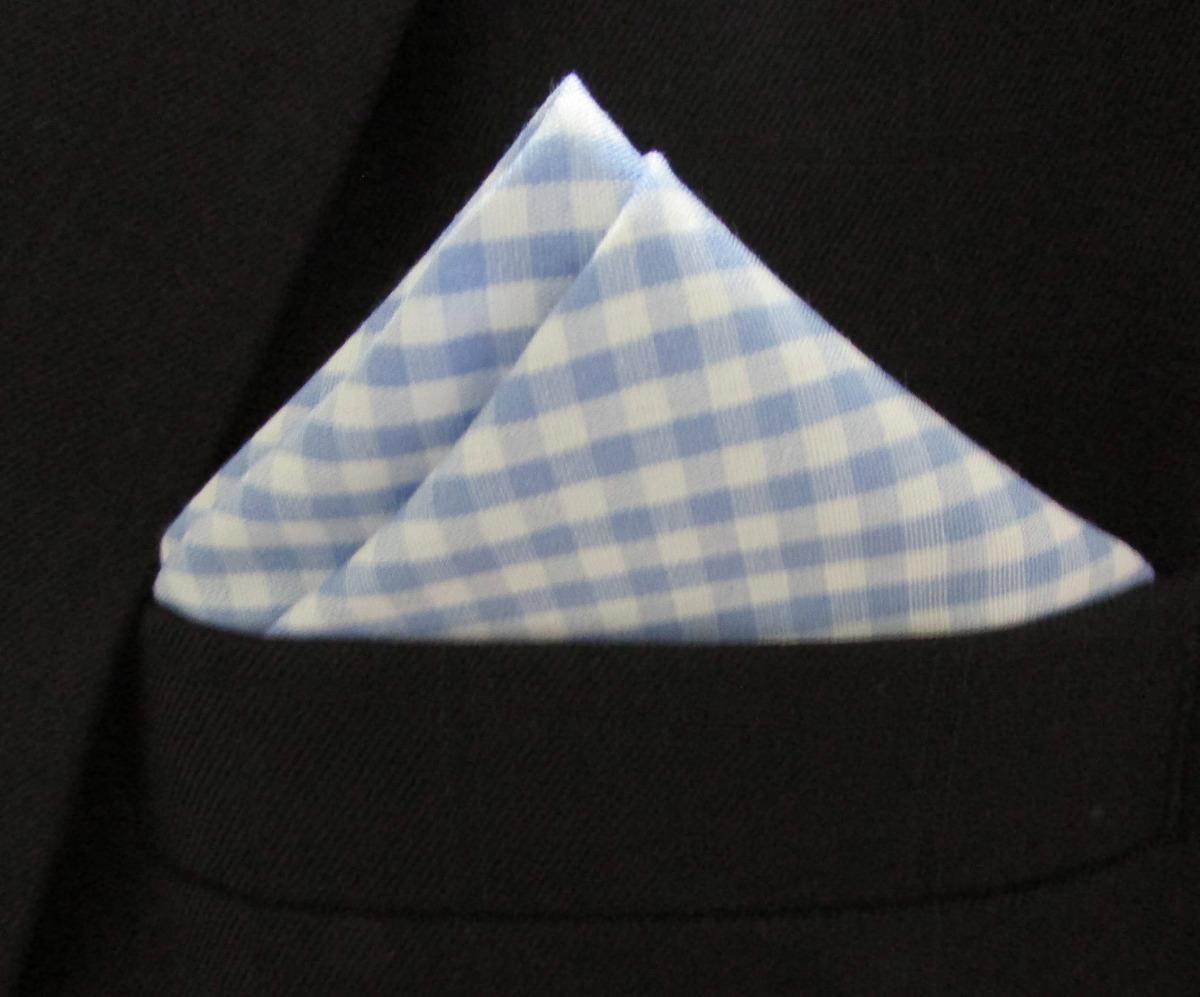 82067821cd8 lenço de bolso azul claro xadrez. Carregando zoom.