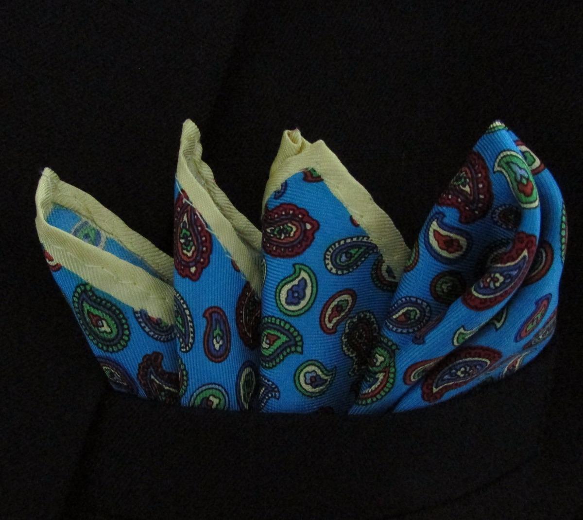 b65643eee9d lenço de bolso de seda pura azul claro paisley. Carregando zoom.