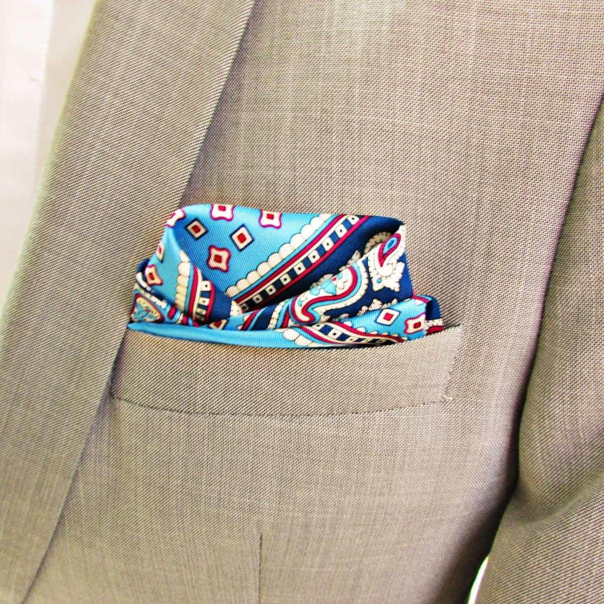 2aeec9abcbd lenço de bolso de seda pura azul tons. Carregando zoom.