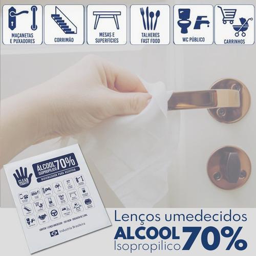 lenço em tnt umedecido - alcool gel 70% prevenção c/100 u