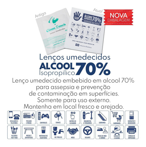lenço em tnt umedecido - alcool gel 70% prevenção c/100 unid