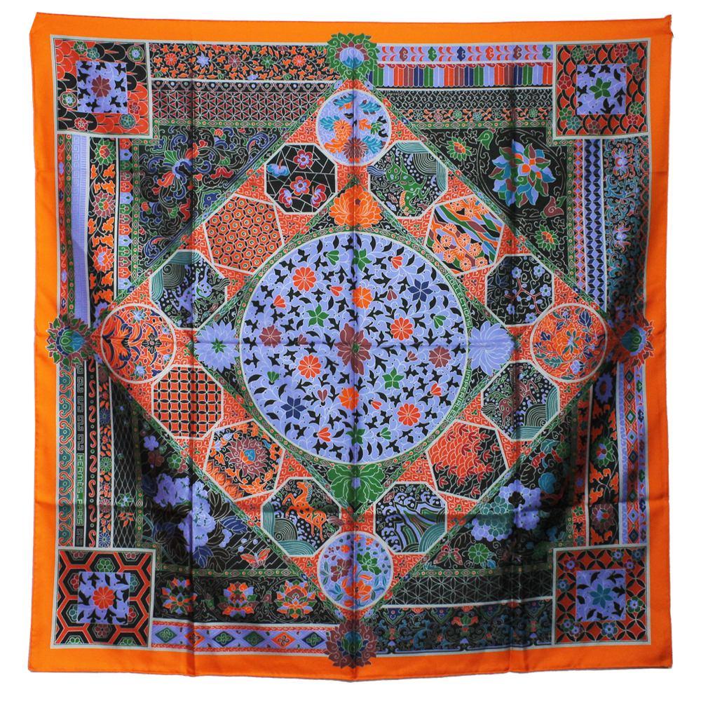 lenço hermes carre twill de seda 90 laranja e roxo hermes. Carregando zoom. 24b6799e12e