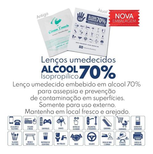 lenço umedecido alcool gel 70% assepsia c/10unid