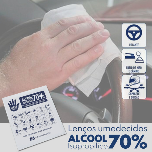 lenço umedecido alcool gel 70%  c/10unid