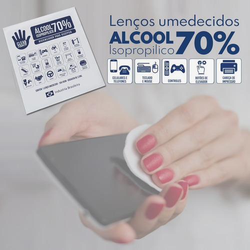 lenço umedecido c/ alcool em gel isopropilico 70% c/100 unid