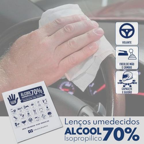 lenço  umedecido com alcool em gel 70% c/100 unid