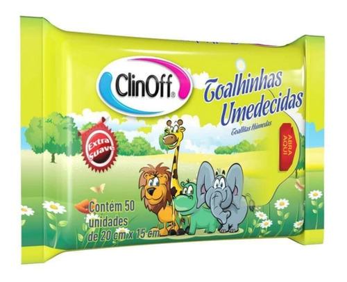 lenço umedecido sache clin off c/50 toalha aloe vera c/50