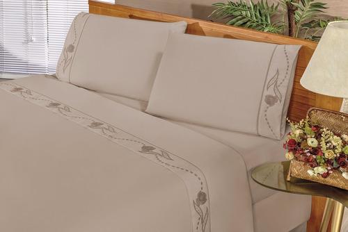lençol bordado 4 peças casal 100% algodão - mr enxovais