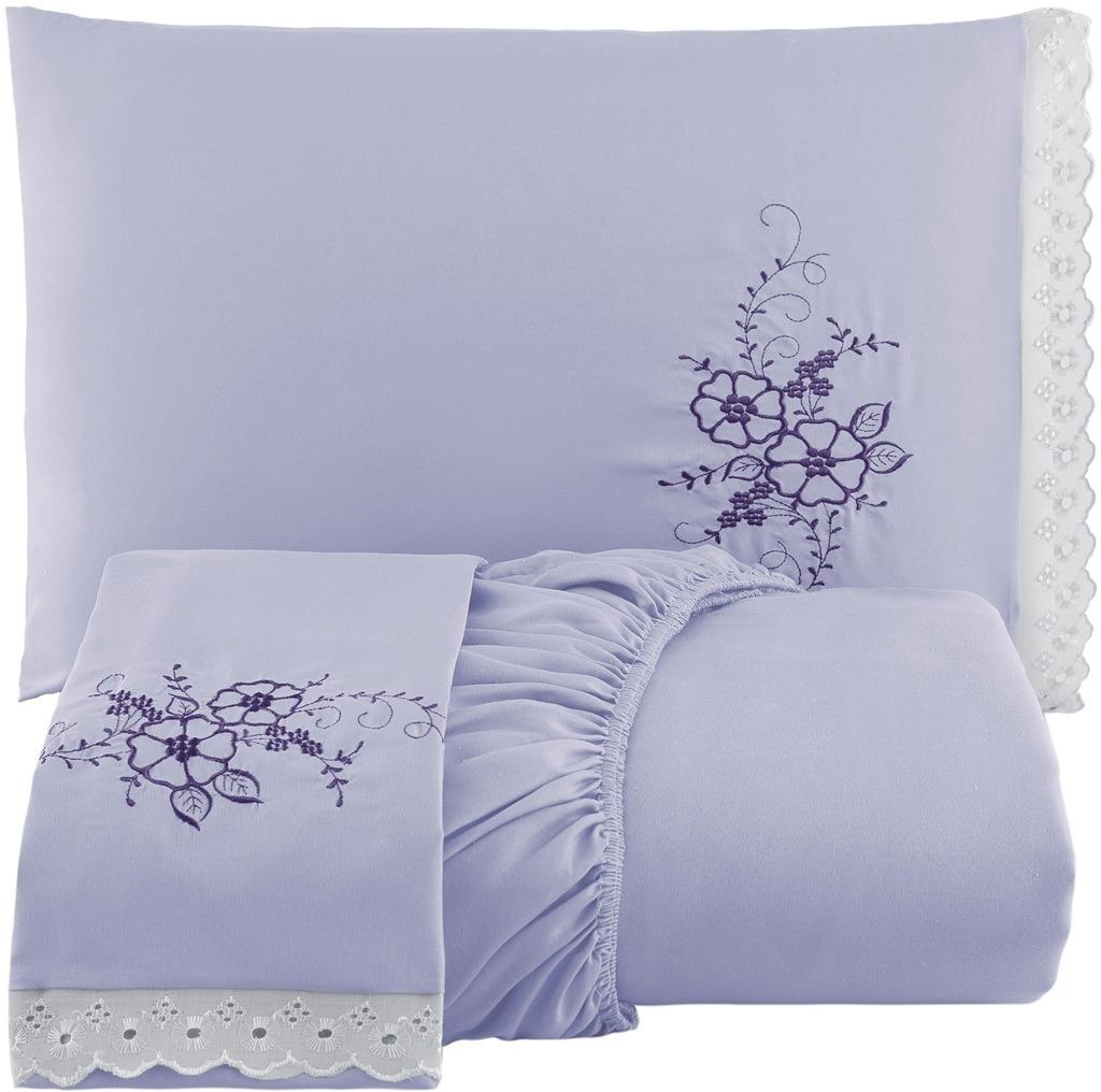 7db04f720a lençol cama box casal conjunto 3 peças bordado com elástico. Carregando  zoom.