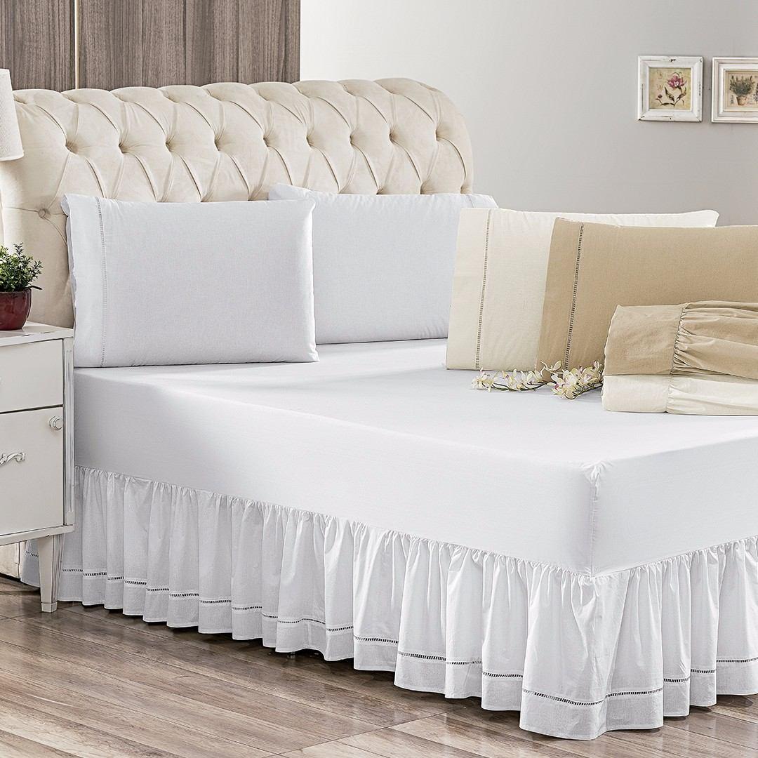 077cb36d2 lençol cama casal com saia cama box multi 3 peças 180 fios. Carregando zoom.