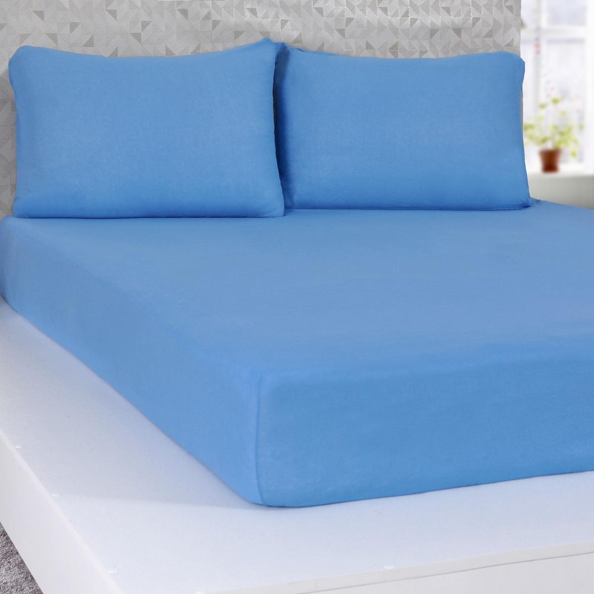bf16362cea Lençol De Malha Com Elástico Solteiro Serena Azul - R  29
