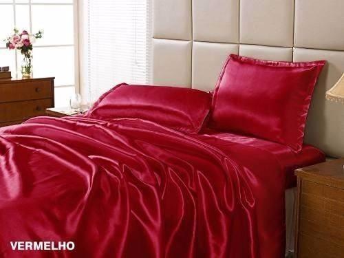 lençol de seda 4 peças vermelho quarto casal queen enxoval