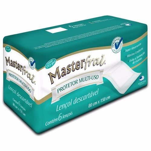 lençol descartável protetor multiuso masterfral 80x150