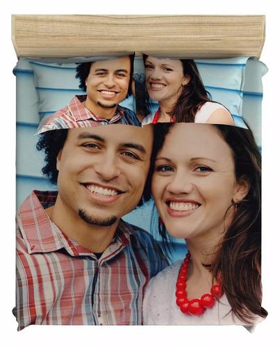 lençol personalizado com foto para cama de casal + 2 fronhas