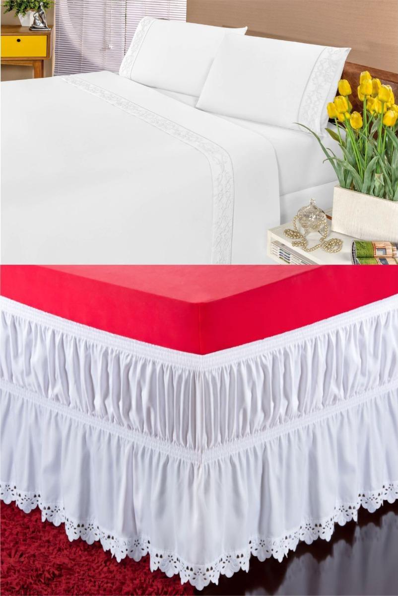 9170f0c4f2 lençol solteiro bordado 3 peças + saia para cama box barato. Carregando  zoom.