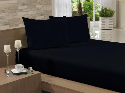 lençol super king alvulso preto com elástico malha algodão