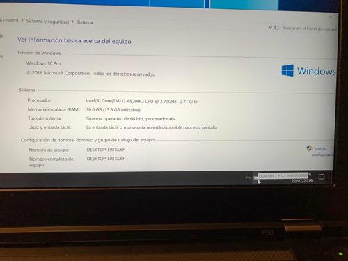 lenovo thinkpad p50 intel core i7/16ram/512ssd/nvidia/win 10