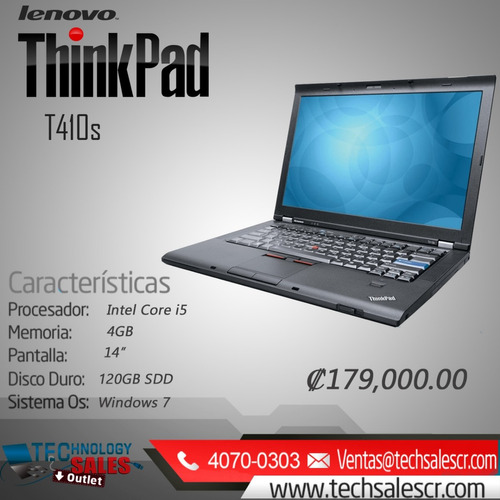 lenovo thinkpad t410s. technology sales outlet.