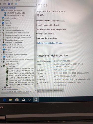 lenovo thinkpad w541 intel core i7/16ram/512ssd/nvidia/win10