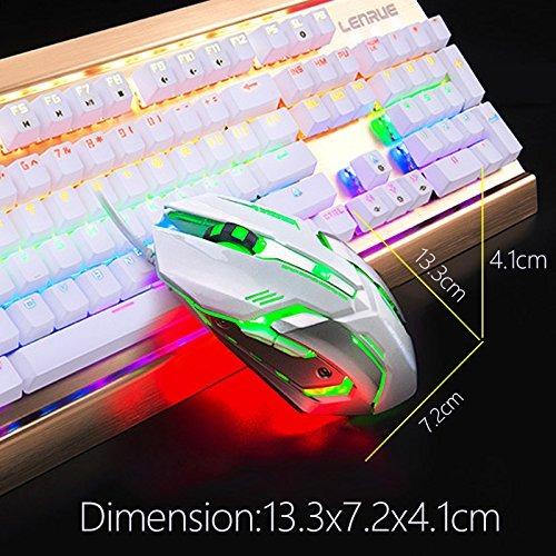 Lenrue Gaming Mouse Con Led Óptico, Niveles De Ajuste De 4 D