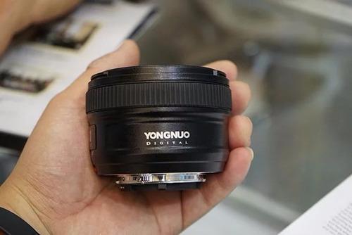 lente 50mm f1.8 yongnuo para nikon   parasol   bolso   paños