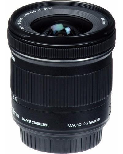 lente canon ef-s 10-18mm f/4.5-5.6 is stm brasil 12x s/juros