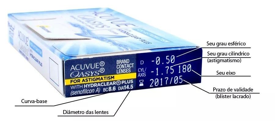 lente de contato acuvue oasys astigmatismo -5,25 cl-0,75 170. Carregando  zoom. 310c0af551