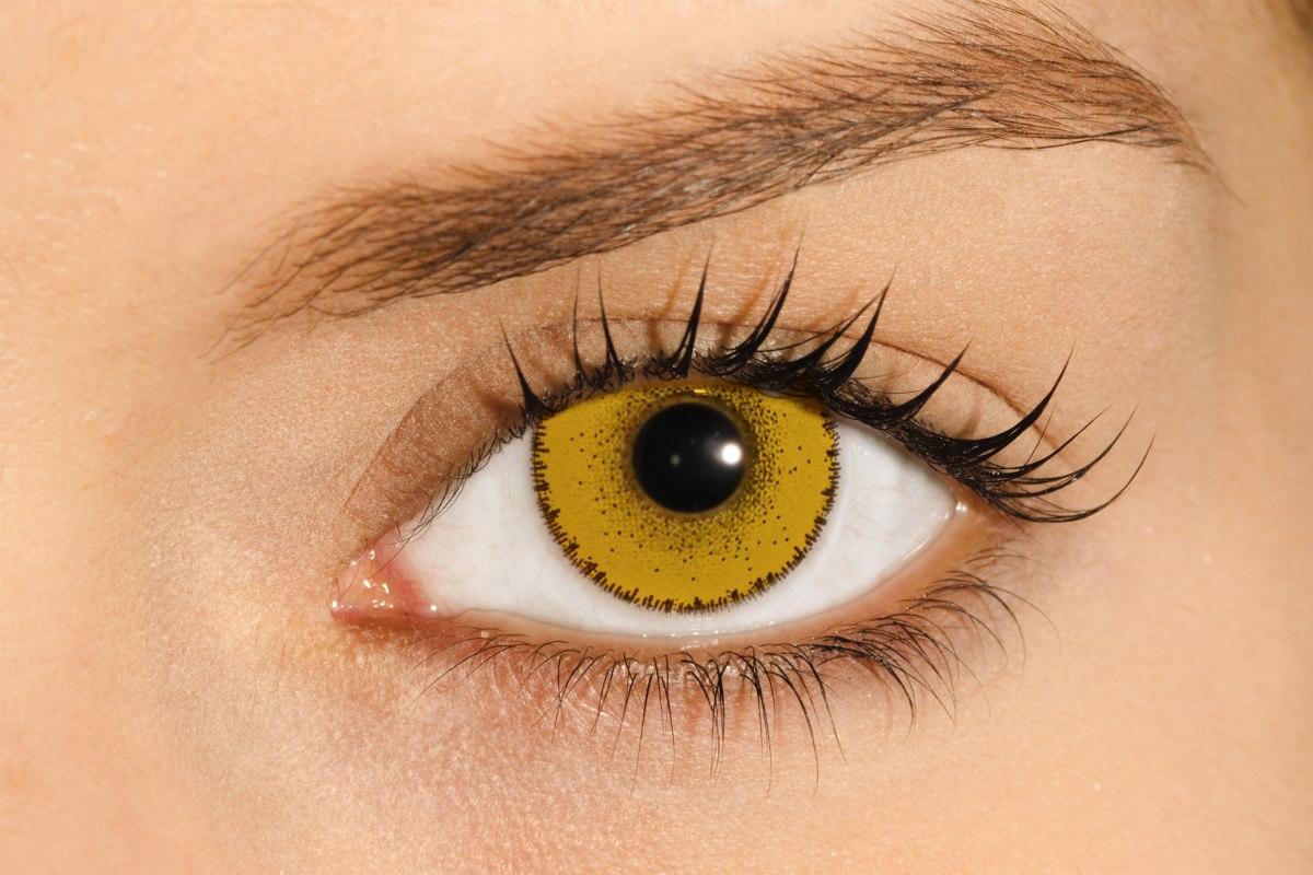 583bf6ba4a445 lente de contato amarela solflex hype solótica   halloween. Carregando zoom.