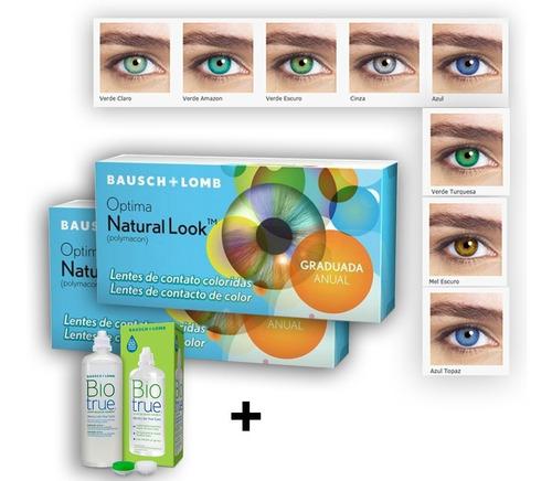 lente de contato colorida natural look com ou sem grau anual
