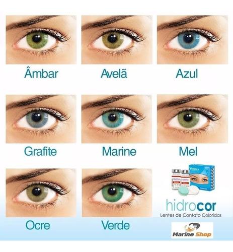 lente de contato hidrocor anual jade, azul, mel, verde e +