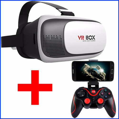 lente de realidad virtual 3d vr box + control gamepad seisa