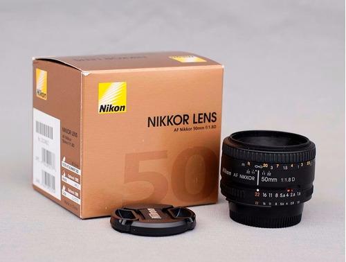 lente fijo nikon nikkor 50 mm f/1.8d af reflex fx -nuevo.