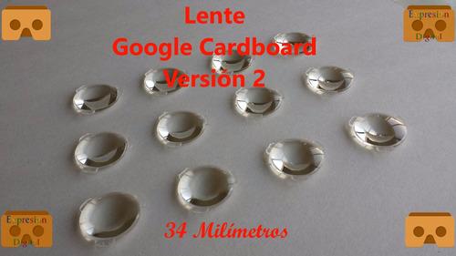 lente google cardboard v2 10unidades,d34mm*f39.3mm envgratis