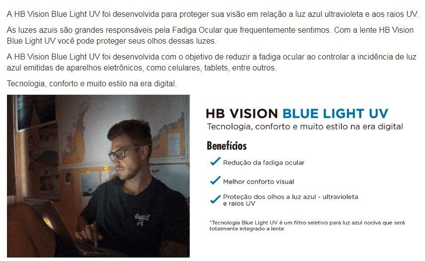 9cdc5beb39 Lente Hb Blue Light 1.56 Visão Simples - R$ 199,00 em Mercado Livre