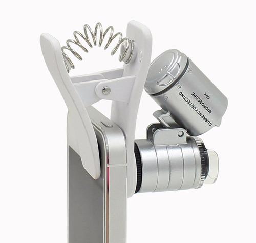 lente microscopio celular universal  60x led uv con clip