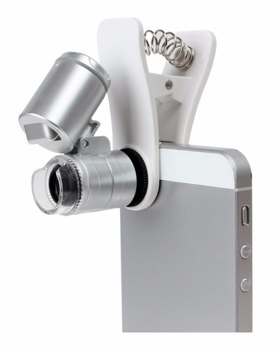 lente microscopio universal clip para celular zoom 60x 3 led