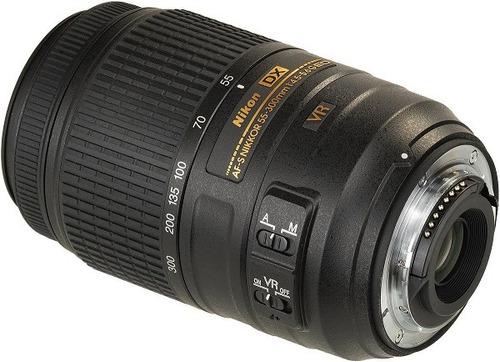 lente nikon 55-300mm f/4.5-5.6g ed af-s dx vr - nova