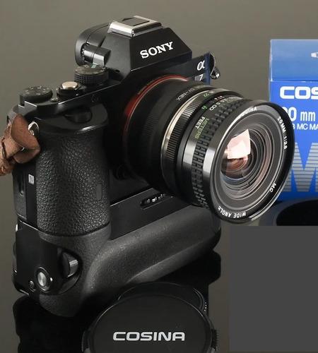 lente nova, 20mm f3,8 cosina macro + adapt. novo sony e-nex