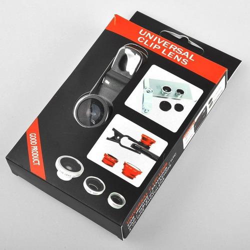 lente ojo de pez 3 en 1 universal iphone monopod macro wide