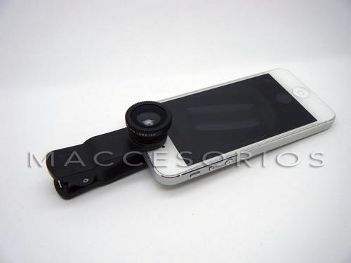 lente ojo de pez + gran angular + macro clip todos celulares